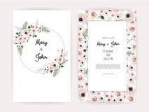 与手工制造花卉元素的传染媒介邀请 婚礼与花卉元素的邀请卡片 皇族释放例证