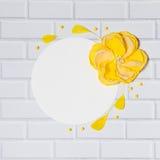 与手工制造黄色花的白色圈子正方形背景 免版税库存照片