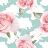 与手拉桃红色水彩的玫瑰的无缝的样式 库存照片