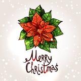 与手拉的一品红的圣诞卡 圣诞节分数维图象晚上星形 免版税库存照片