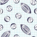 与手拉的不同的体育球的无缝的样式 图库摄影