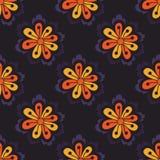与手拉的乱画元素的抽象无缝的花卉样式 向量例证