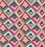 与手拉的五颜六色的三角摘要元素的传染媒介无缝的样式 向量例证