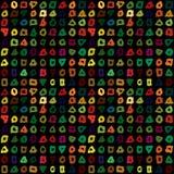 与手拉的五颜六色的形状的抽象无缝的样式 库存照片