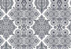 与手拉的元素的黑白种族无缝的样式 免版税库存图片