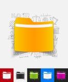 与手拉的元素的文件夹纸贴纸 库存照片