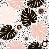 与手拉的元素的棕榈分支时髦无缝的样式 Monstera叶子背景 伟大为织品,纺织品 图库摄影