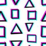 与手拉的几何形状的无缝的装饰样式 3d立体镜作用 免版税库存照片