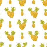 与手拉的剪影菠萝传染媒介例证的果子背景无缝的样式 免版税库存图片
