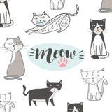 与手拉的动画片的逗人喜爱的猫 Hip Hop样式 免版税库存图片