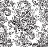 与手拉的华丽花的传染媒介无缝的样式 向量例证