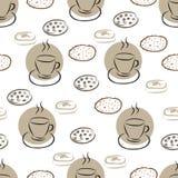 与手拉的咖啡杯和另外曲奇饼的无缝的样式 库存照片