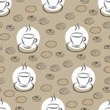 与手拉的咖啡杯和另外曲奇饼的无缝的样式 图库摄影