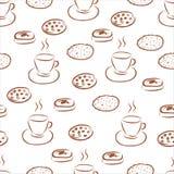 与手拉的咖啡杯和另外曲奇饼的无缝的样式 免版税库存照片