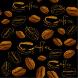 与手拉的咖啡杯,豆的无缝的样式 库存照片