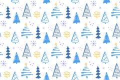 与手拉的圣诞树的冬天森林无缝的样式 包装纸和圣诞节的传染媒介背景 免版税图库摄影