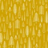 与手拉的圣诞树的无缝的样式 库存照片