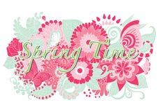 与手拉的坛场花和蝴蝶的春天词 免版税库存图片