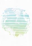 与手拉的墨水圈子的简单的垂直的模板,手工制造在徒手画的样式,与条纹梯度纹理,不完美,粒状, 免版税图库摄影