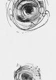 与手拉的墨水的简单的垂直的模板盘旋,手工制造在徒手画的样式,简明,不完美,在织地不很细白色水彩 库存图片