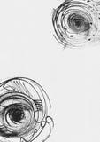 与手拉的墨水的简单的垂直的模板盘旋,手工制造在徒手画的样式,简明,不完美,在织地不很细白色水彩 库存照片