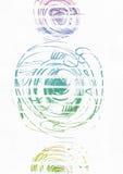 与手拉的墨水的简单的垂直的模板盘旋,手工制造在徒手画的样式,与条纹梯度纹理,不完美,粒状, 免版税图库摄影
