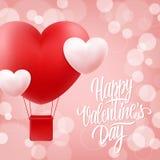 与手拉的字法文本设计的愉快的情人节贺卡和现实心脏塑造热空气气球 免版税库存照片