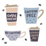 与手拉的字法的咖啡杯手拉的illustaration 无咖啡因的咖啡传染媒介例证 库存例证