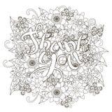 与手拉的字法的花卉单色乱画样式背景感谢您 库存图片