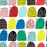 与手拉的形状和元素的无缝的抽象样式 传染媒介时髦纹理 明亮的创造性的织品设计 免版税库存照片