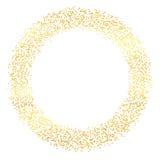 与手拉的微粒的抽象假日背景 明亮的金黄圆点框架模板 也corel凹道例证向量 免版税库存图片