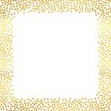 与手拉的微粒的抽象假日背景 明亮的金黄圆点正方形框架模板 向量 库存图片