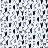 与手拉的心脏的传染媒介无缝的样式在剪影样式 库存例证