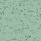 与手拉的恐龙的传染媒介无缝的样式 库存照片