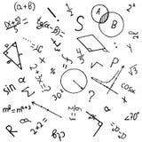 与手拉的数学公式的科学背景 免版税库存照片