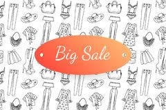 与手拉的时尚衣裳和辅助部件的大销售横幅 库存图片
