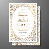 与手拉的枝杈、花和brahches的金黄传染媒介婚礼邀请 婚姻的金黄植物的模板 库存图片