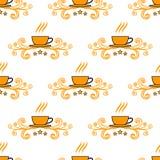 与手拉的概略茶和咖啡杯的无缝的样式 免版税库存照片