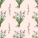与手拉的水仙和杨柳的无缝的样式分支bouqet 库存图片