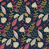 与手拉的狂放的花卉元素的现代无缝的样式 秋天背景特写镜头上色常春藤叶子橙红 向量例证