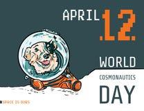 与手拉的狗的传染媒介海报在航天服 在橙色连衫裤的滑稽的小狗明信片的,飞行物 向量例证