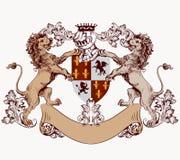 与手拉的狮子和盾的纹章学设计元素 免版税库存照片