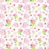与手拉的玫瑰色花的无缝的样式 库存图片