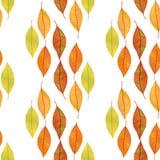 与手拉的秋叶的无缝的样式 明亮的颜色水彩背景 免版税库存照片
