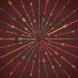 与手拉的箭头的部族样式 免版税库存图片