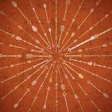 与手拉的箭头的部族样式 免版税库存照片