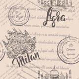 与手拉的米兰大教堂的无缝的样式,在米兰上写字,手拉泰姬陵,在阿格拉和退色的文本上写字 库存例证
