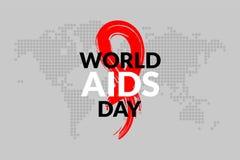 与手拉的红色丝带设计传染媒介例证的世界艾滋病日 援助了悟广告、海报、横幅或者t-的象设计 向量例证