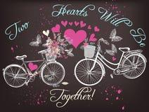 与手拉的自行车的美好的Valentine's天例证 免版税库存照片