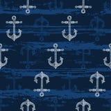 与手拉的船锚的无缝的样式 背景峡湾光芒海运星期日 库存例证